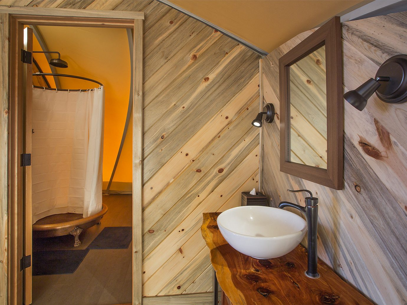 Glamping Outdoors + Adventure Trip Ideas indoor wall floor room man made object wooden bathroom house wood home hardwood cottage