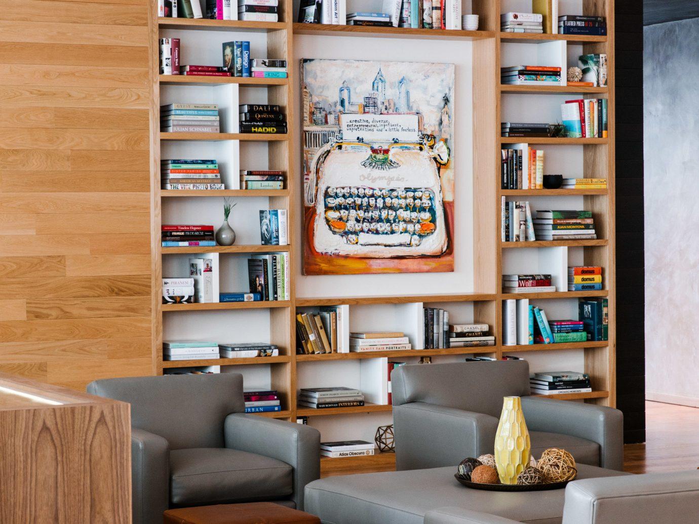 Boutique Hotels Hotels Philadelphia indoor floor shelving shelf furniture living room Living interior design bookcase home table interior designer wood