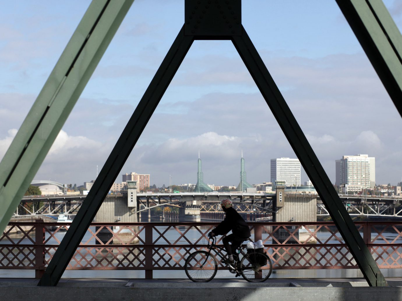 Bike bikers Biking bridge City city streets city views Outdoor Activities Outdoors people streets Trip Ideas urban view sky outdoor water building transport landmark Architecture River overlooking arch railing