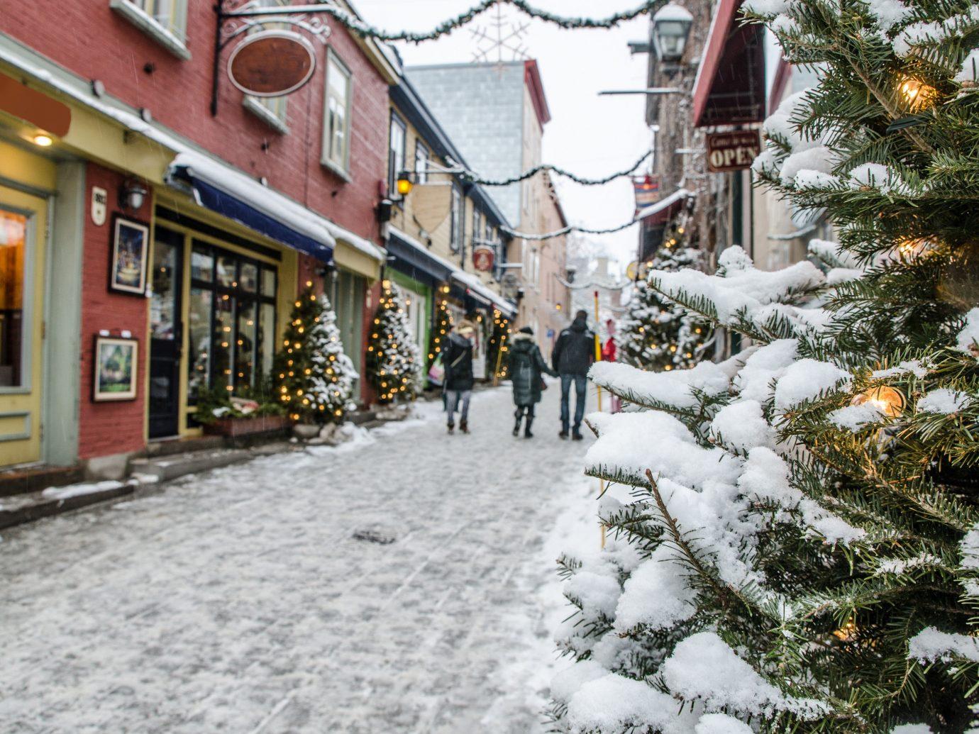 Boutique Hotels Romance Trip Ideas snow outdoor building weather Winter Town scene tree way neighbourhood season sidewalk