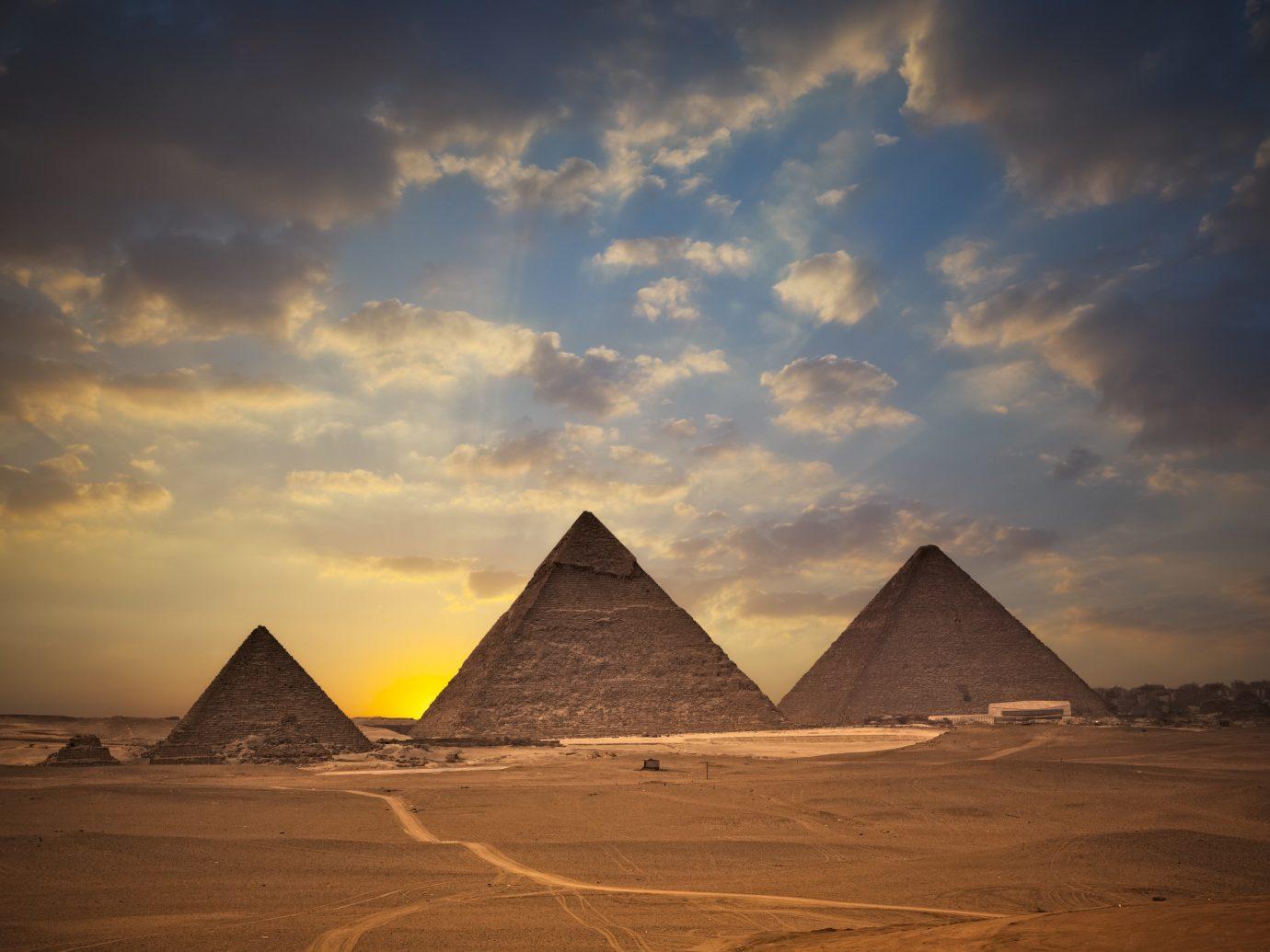 Trip Ideas sky outdoor pyramid monument mountain horizon sunlight dawn sunrise Sunset clouds day