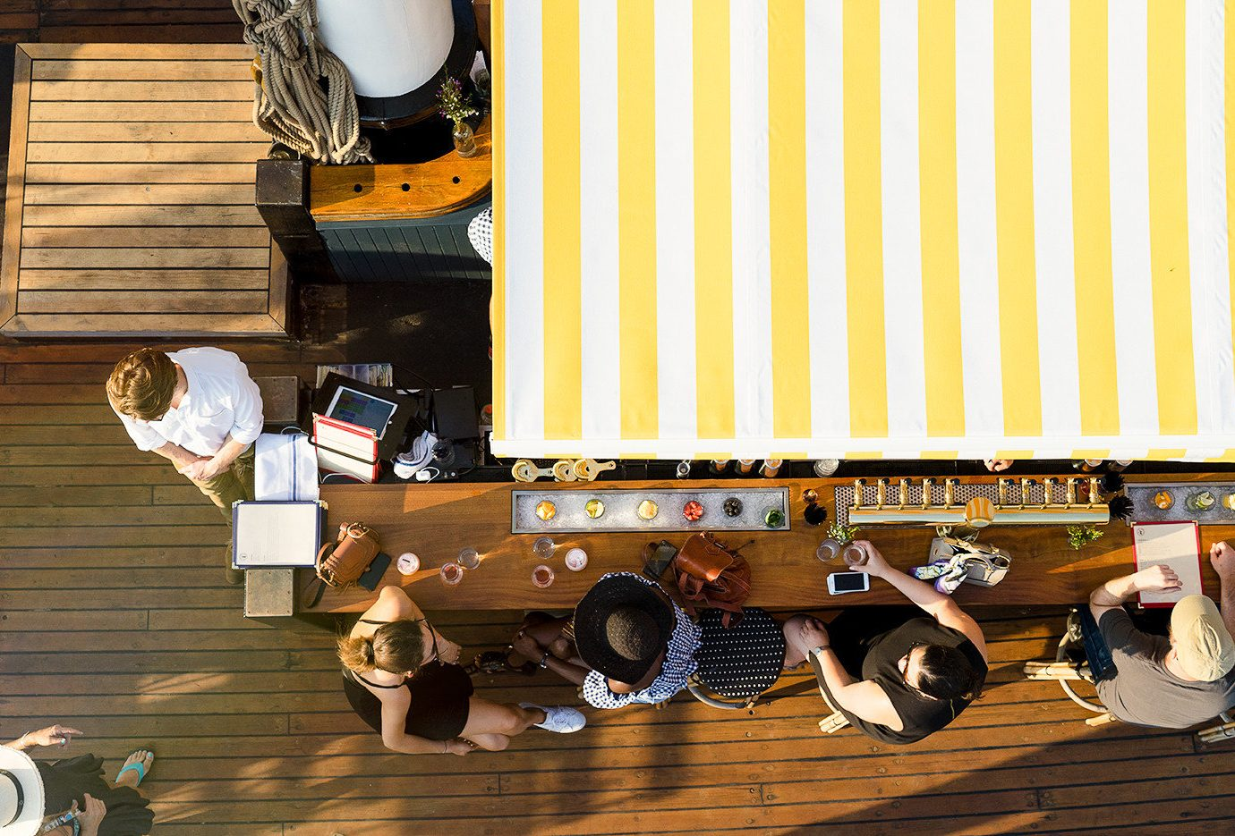 Aerial view of Pilot, a wooden schooner in Brooklyn's Pier 6 Park - floating bar and restaurant