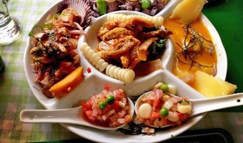Food + Drink food plate dish cuisine hors d oeuvre meal produce Seafood salad several