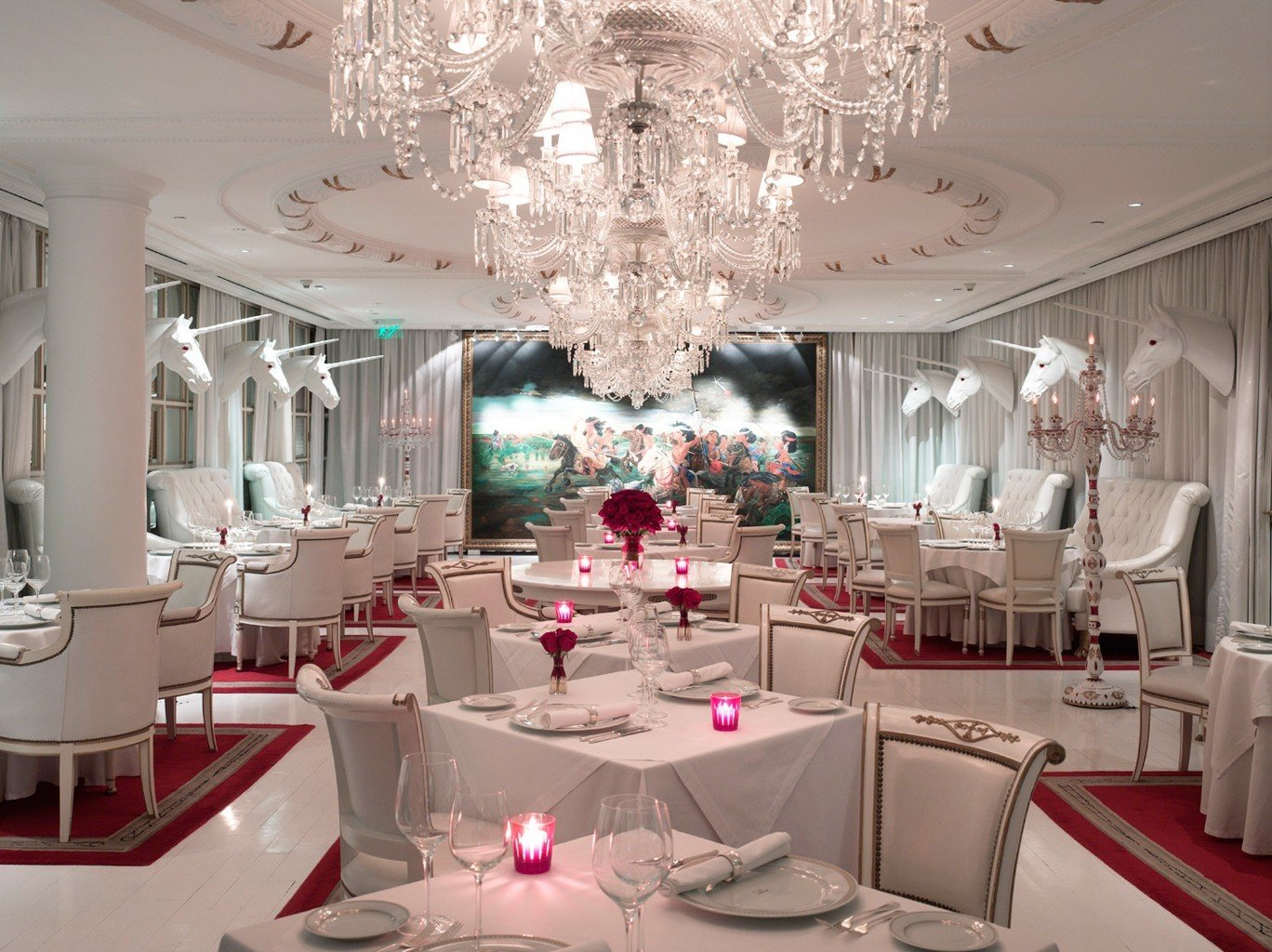 Hotels indoor function hall room meal ceiling centrepiece dining room wedding wedding reception quinceañera ceremony Party ballroom banquet interior design floristry estate restaurant furniture dining table cluttered several