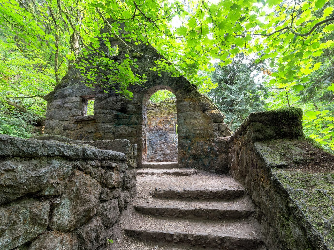 Trip Ideas tree outdoor rock stone green Ruins building wall rural area Garden woodland ancient history shrine wood monastery flower autumn Forest plant surrounded wooded