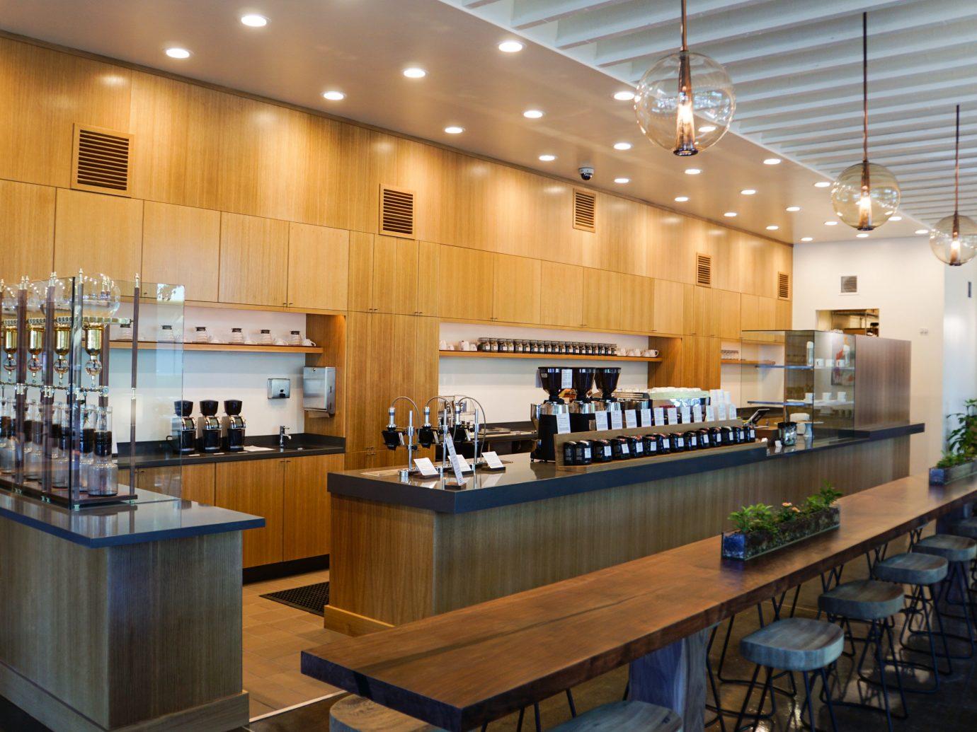 Influencers + Tastemakers indoor floor table ceiling Kitchen wall counter interior design restaurant café cafeteria Island Bar area several