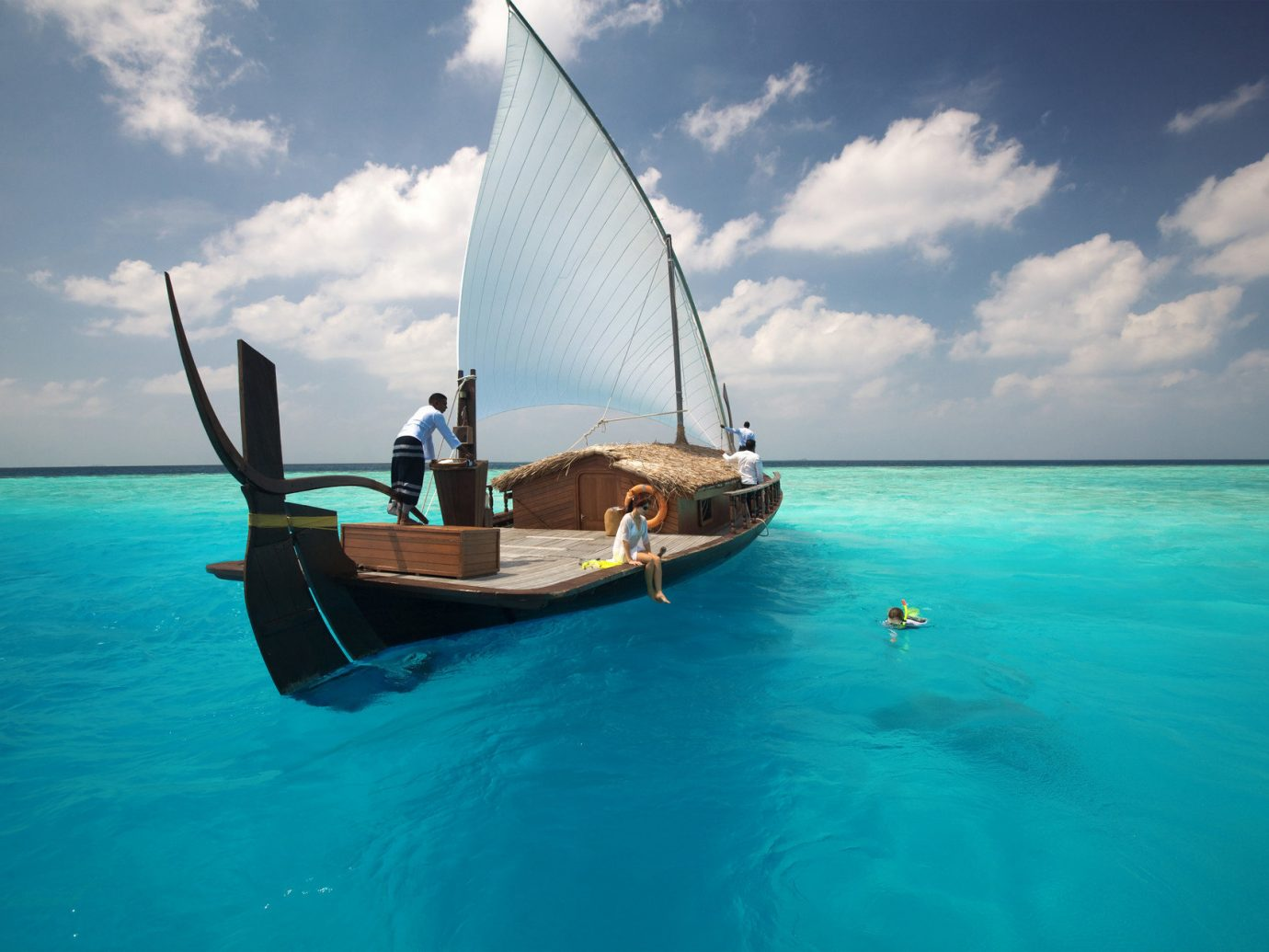Boat calm clear water Hotels isolation Luxury Ocean people private remote rendering sailboat serene turquoise sky water outdoor Sea watercraft vehicle transport blue caribbean sail vacation bay sailing Lagoon Island sailing vessel