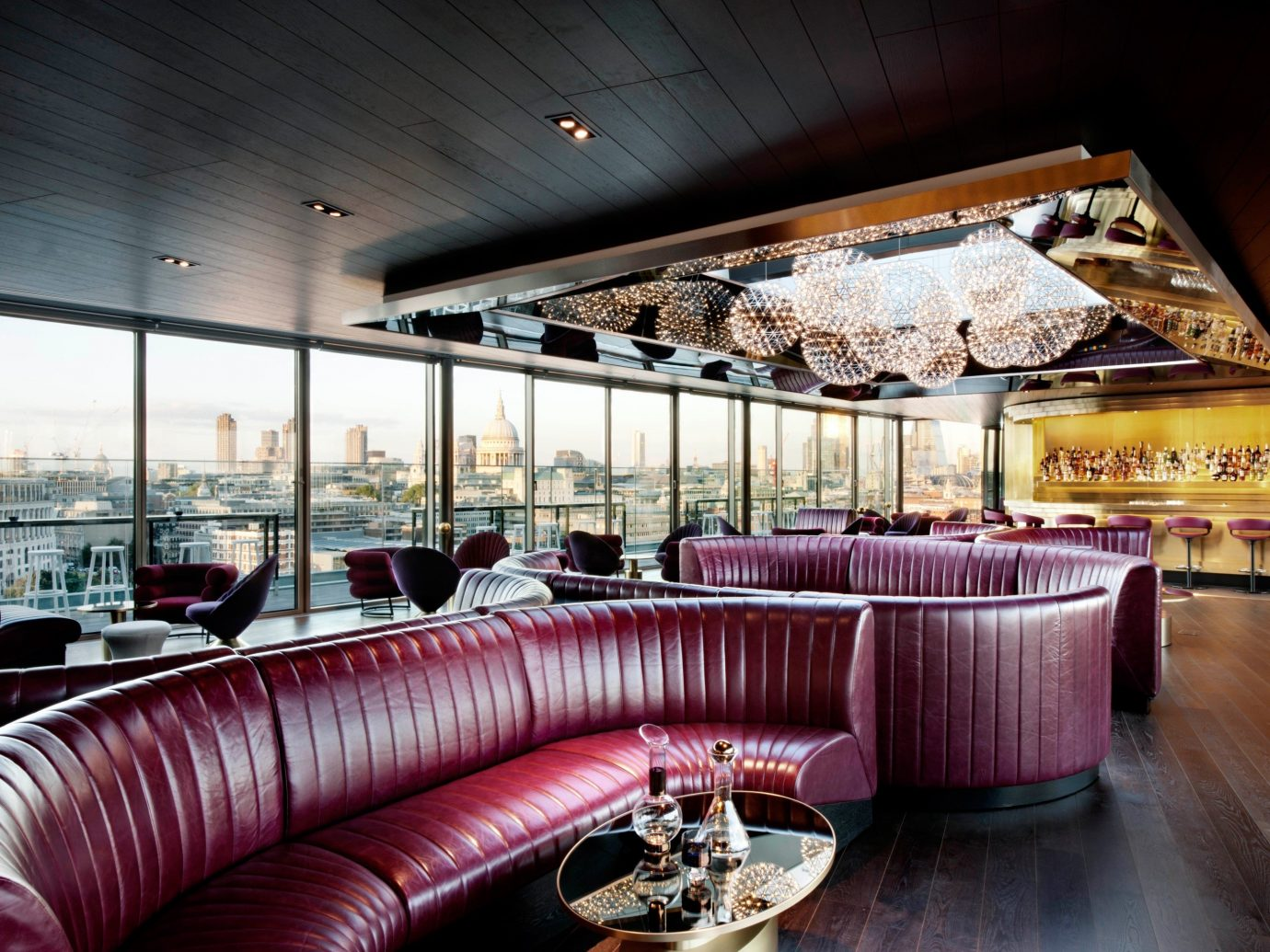 Food + Drink indoor ceiling room Living restaurant Lobby interior design meal function hall estate furniture Design Bar several
