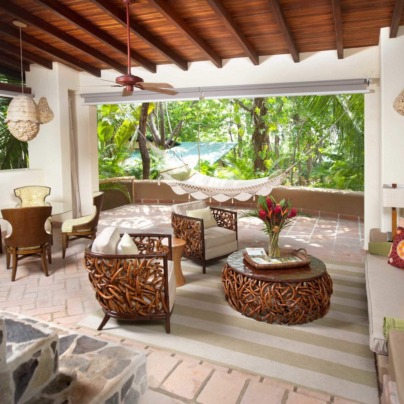 Hotels Lounge Luxury Tropical property Villa Resort living room cottage home porch outdoor structure hacienda backyard farmhouse