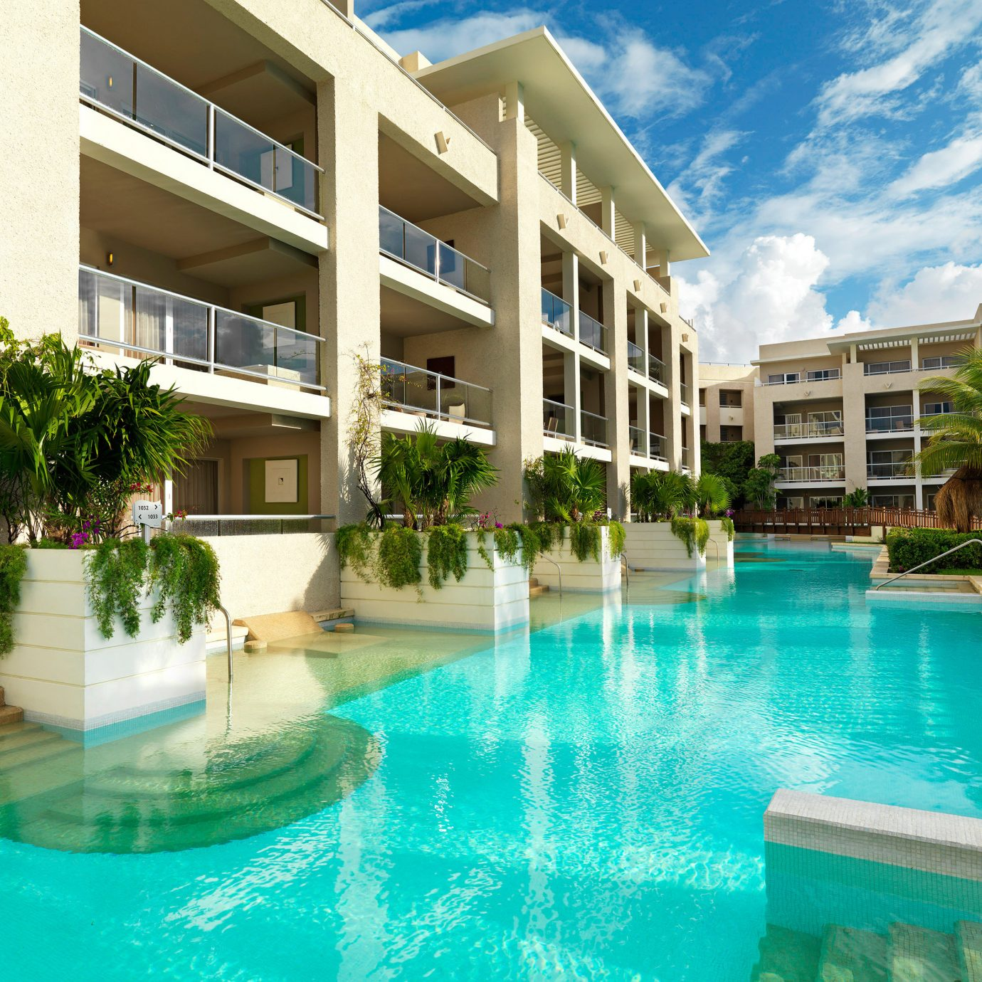 Hotels building condominium swimming pool Resort property leisure Pool leisure centre home blue resort town Villa mansion swimming