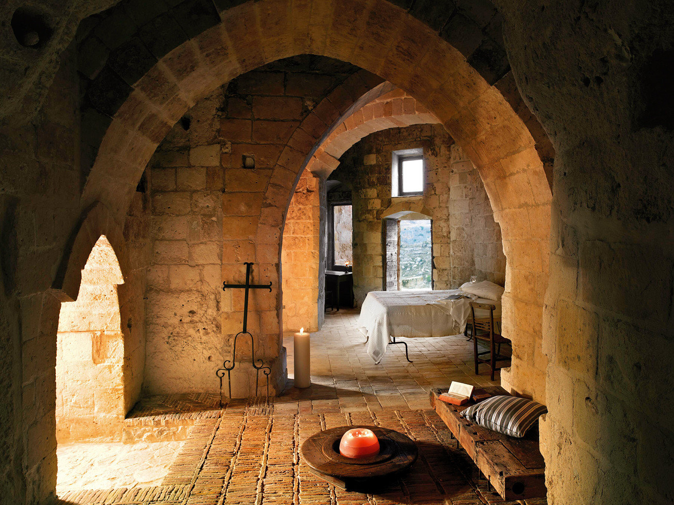 B&B Bedroom Boutique Country Historic Romance Romantic Trip Ideas building stone brick arch wall Architecture ancient history estate crypt hacienda middle ages temple monastery vault basement