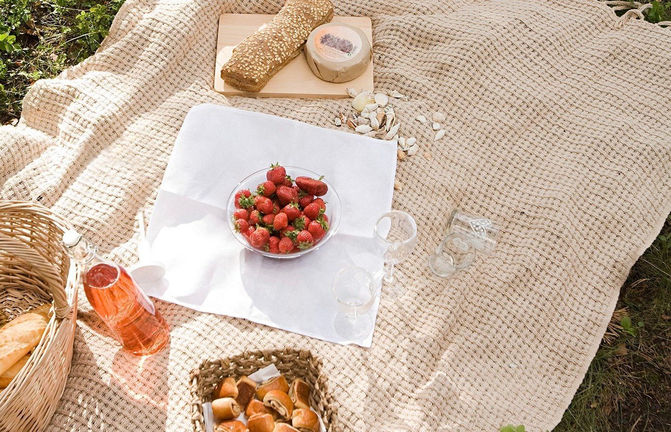 Outdoors + Adventure food art flower Picnic cloth tablecloth textile meal pattern autumn different