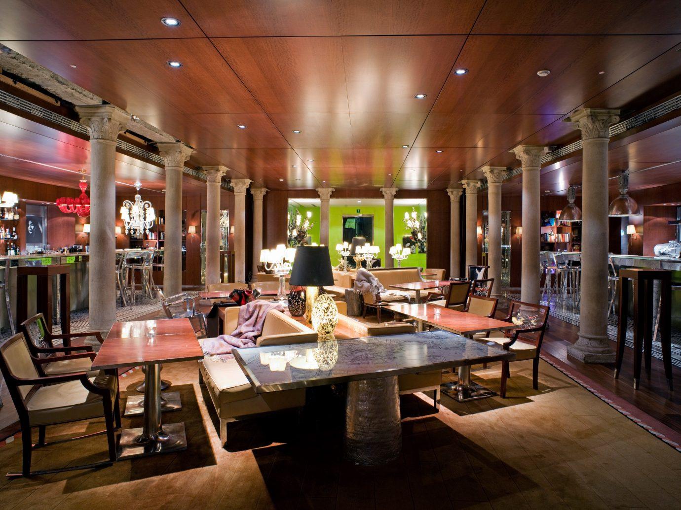 Bar City Dining Hip Hotels Italy Luxury Luxury Travel Venice indoor ceiling table floor restaurant meal Lobby interior design café several