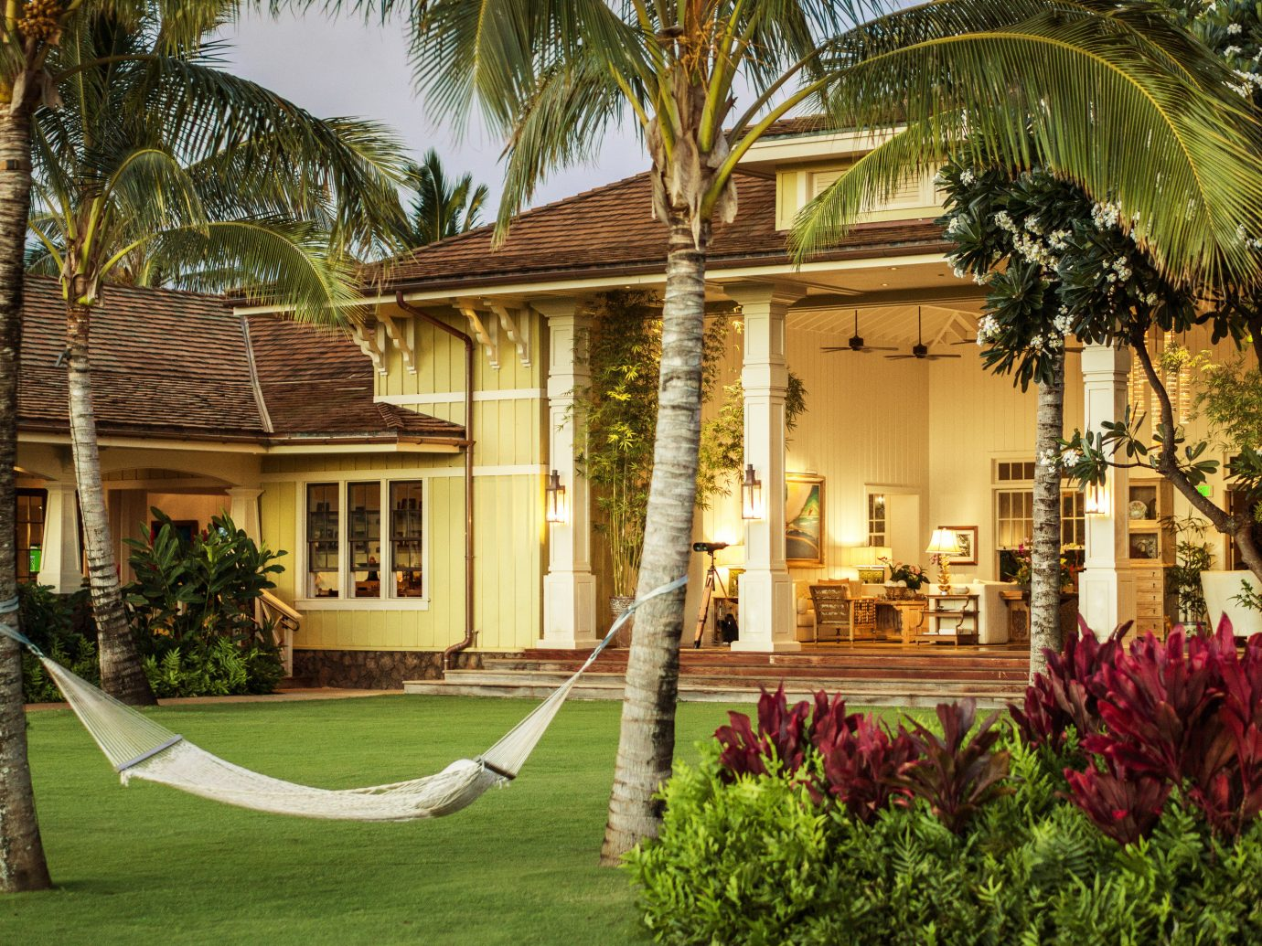 building Exterior Garden hammock Hotels palm trees Patio plants private relaxation Romance Terrace trees Tropical outdoor grass property estate Resort house home mansion Villa hacienda backyard Courtyard palm