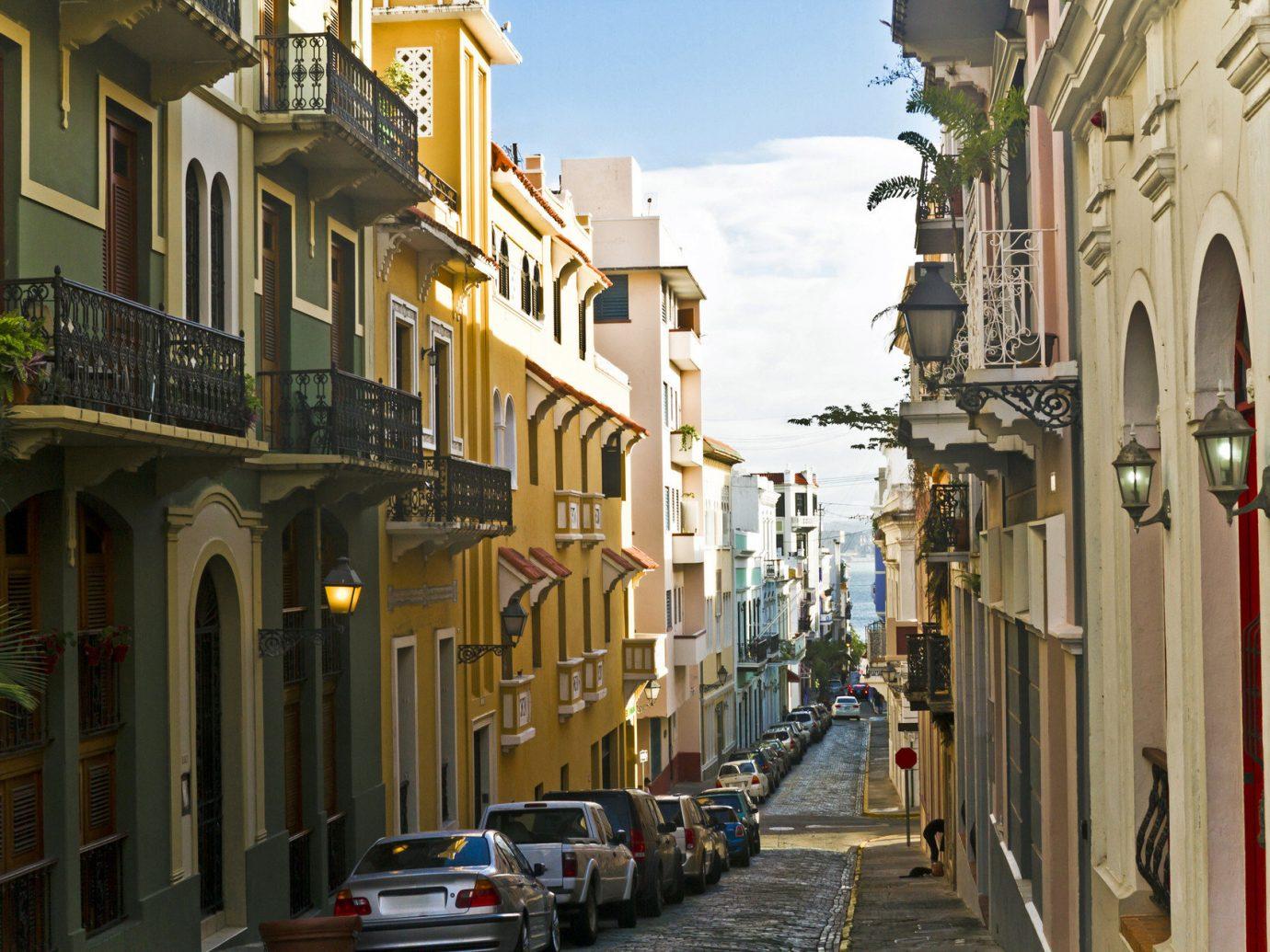 Narrow street in San Juan, Puerto Rico