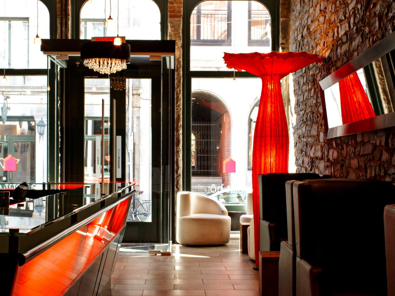 Canada Hip Hotels Living Lobby Lounge Modern Montreal Trip Ideas indoor color restaurant Bar room interior design lighting orange
