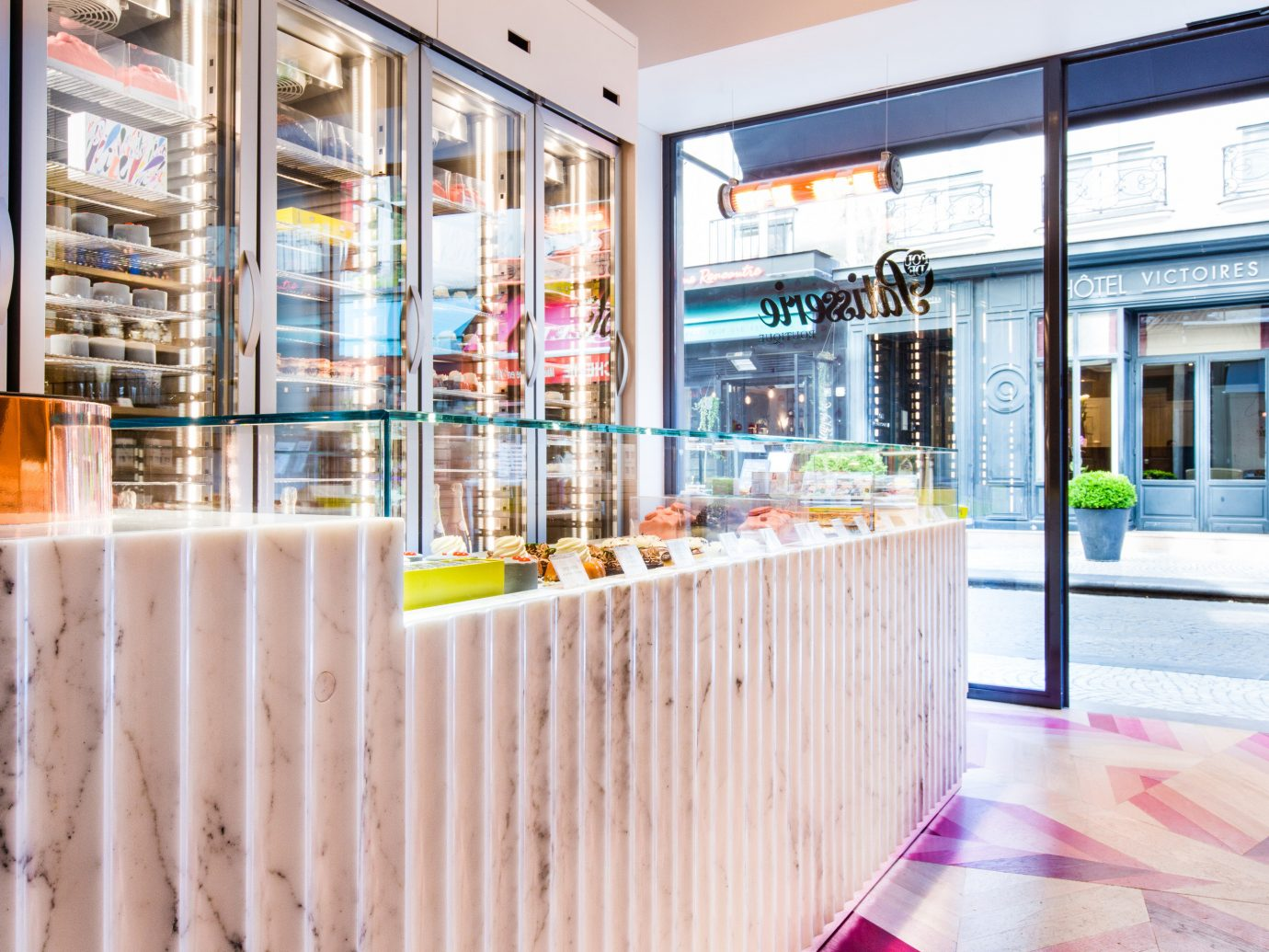 Food + Drink France Paris indoor retail interior design Boutique real estate window covering shopping mall
