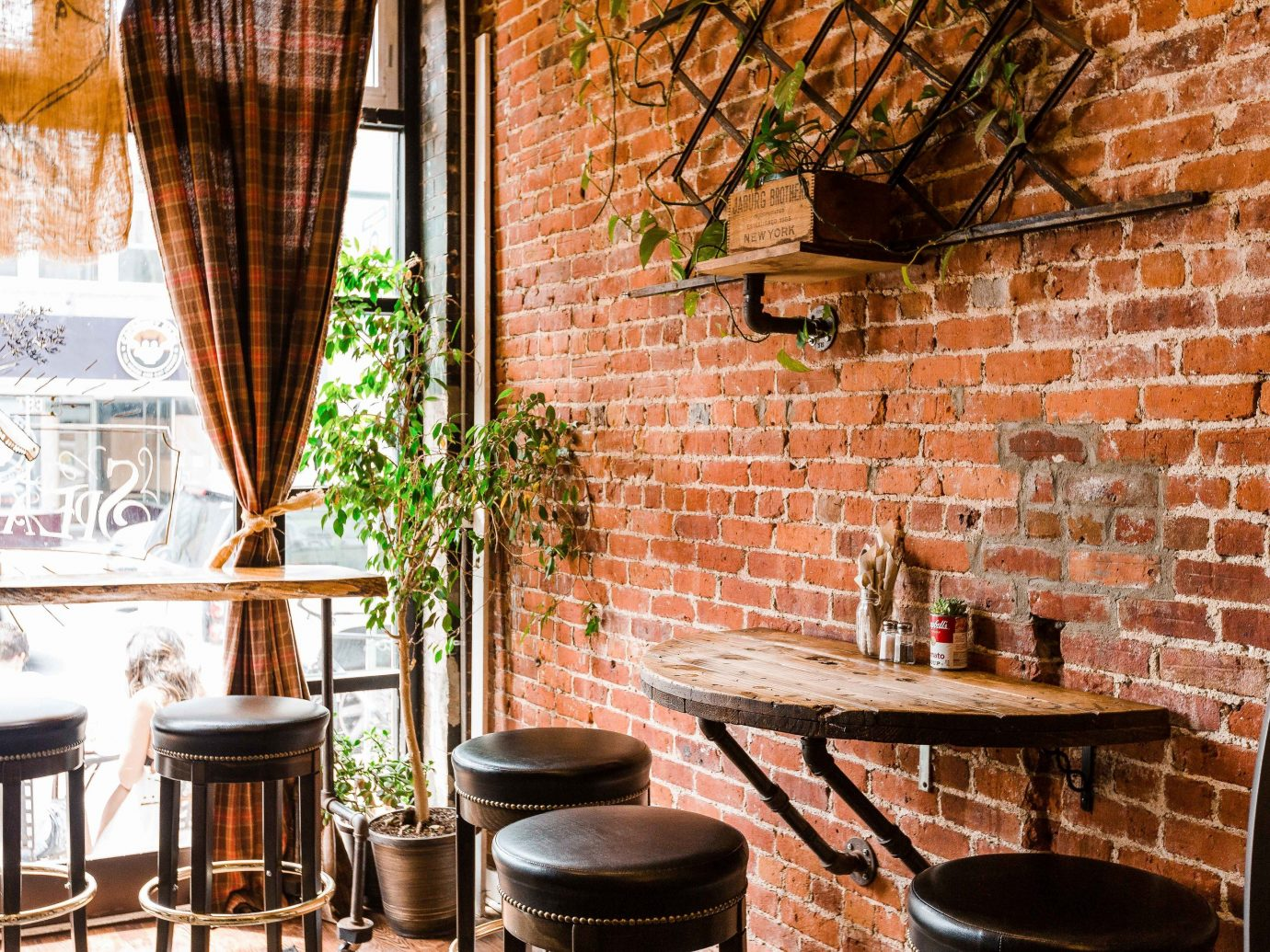 Trip Ideas chair brick wall interior design home window café restaurant brickwork furniture