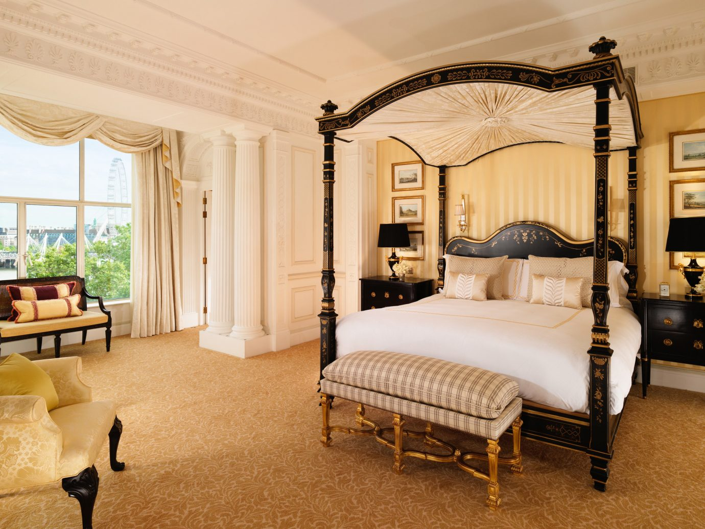 Hotels London Luxury Travel indoor floor room wall bed property ceiling Bedroom interior design Suite estate home bed frame furniture real estate window flooring window treatment four poster