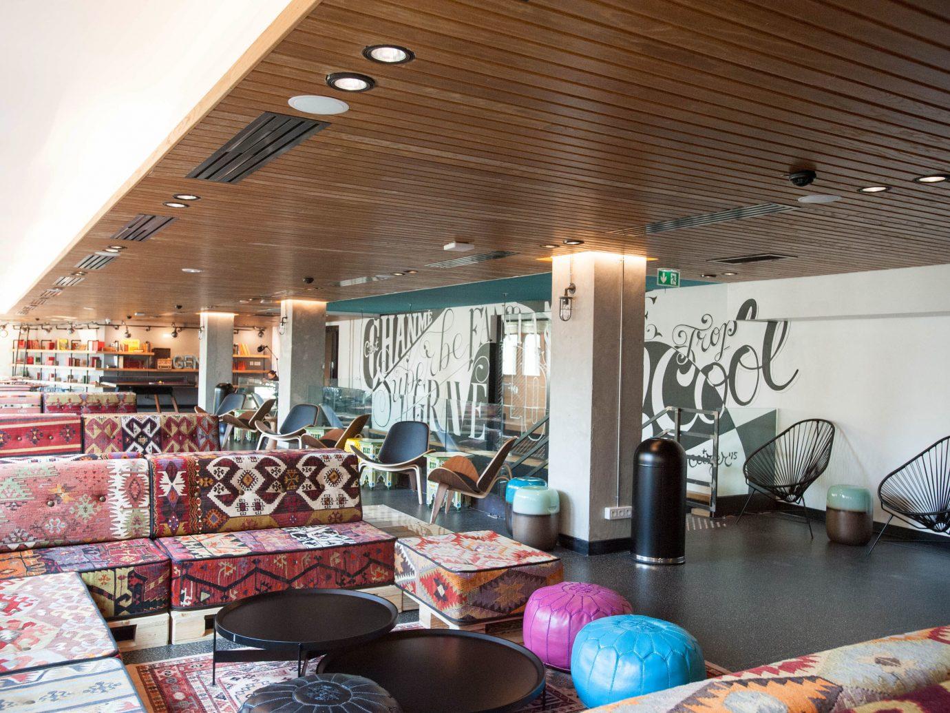 Budget Hotels Lounge indoor ceiling room restaurant interior design real estate meal Lobby Design area furniture