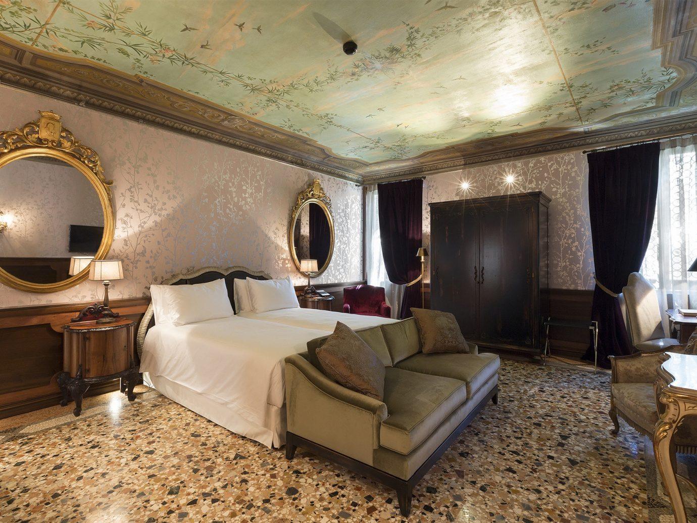 Hotels Italy Luxury Travel Venice indoor wall floor room ceiling Suite interior design estate hotel living room Bedroom furniture