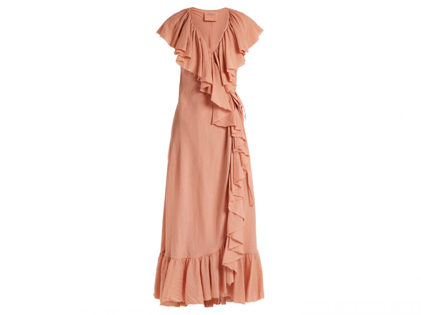 Style + Design Travel Shop clothing day dress dress shoulder peach joint ruffle gown cocktail dress neck fashion model