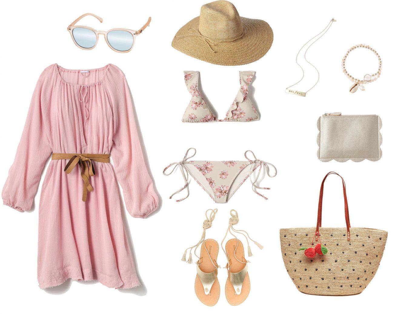 Style + Design pink clothing indoor product clothes hanger shoulder fashion handbag peach shoe pattern costume design arranged several