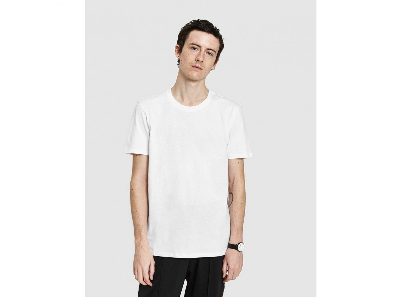 Style + Design Travel Shop person man t shirt white standing clothing sleeve posing shoulder neck product joint collar top dressed trouser male