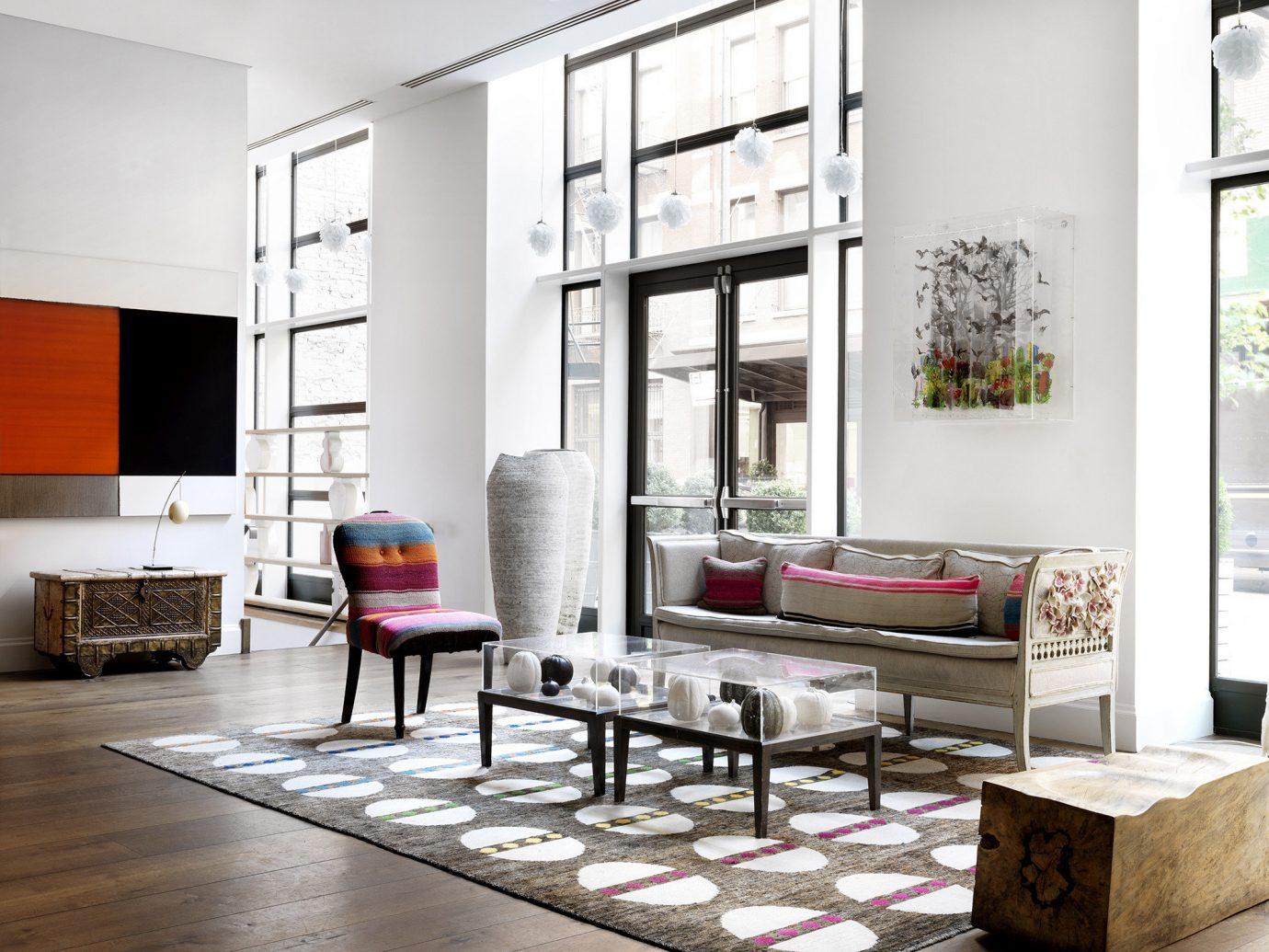 Style + Design indoor Living floor living room room furniture interior design home Design flooring dining room loft window covering table