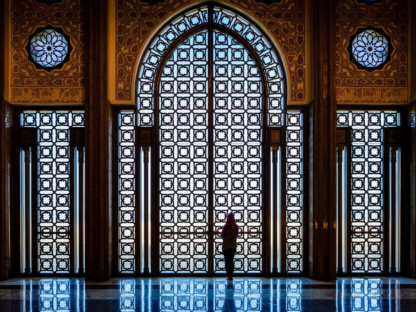 Arts + Culture Marrakech Morocco Style + Design stained glass glass window arch gothic architecture place of worship building chapel symmetry arcade synagogue