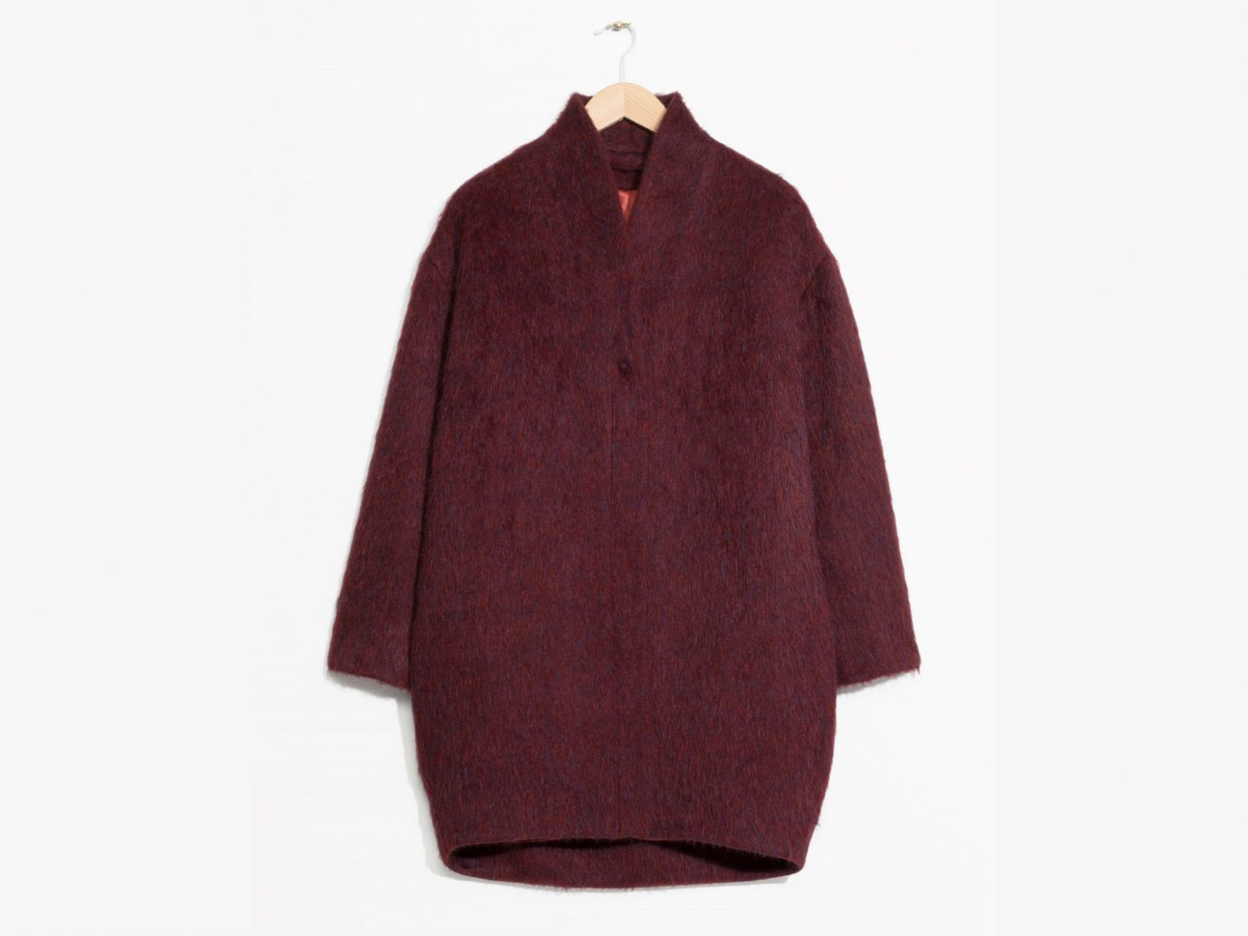 City NYC Style + Design Travel Shop clothing maroon woolen coat sleeve neck