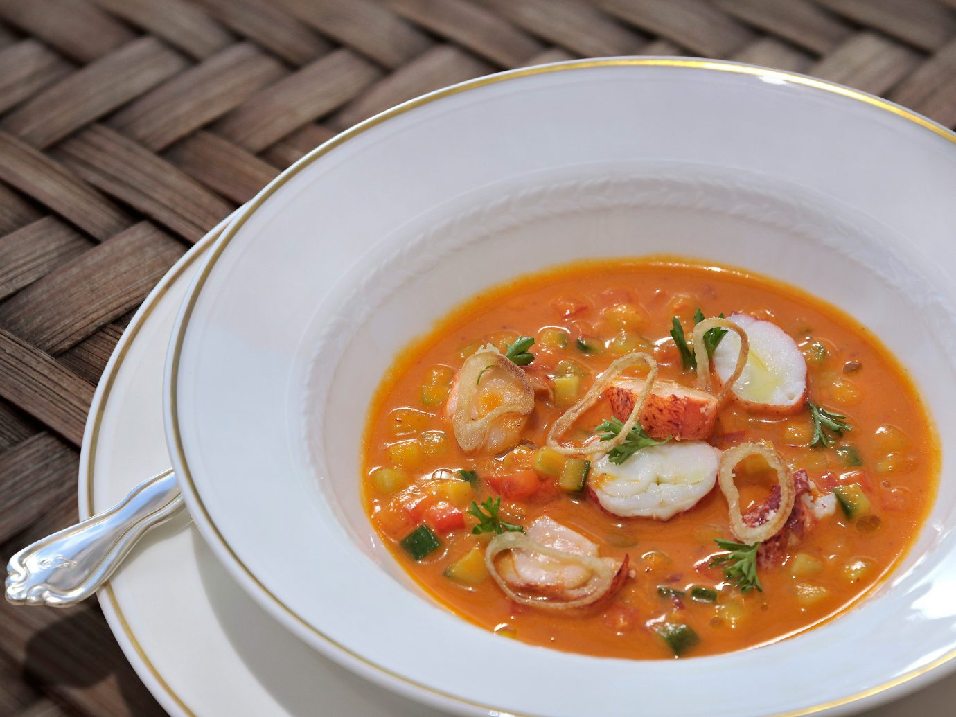 Dining Drink Eat Luxury Trip Ideas plate food table soup dish bowl produce vegetable cuisine curry Seafood orange
