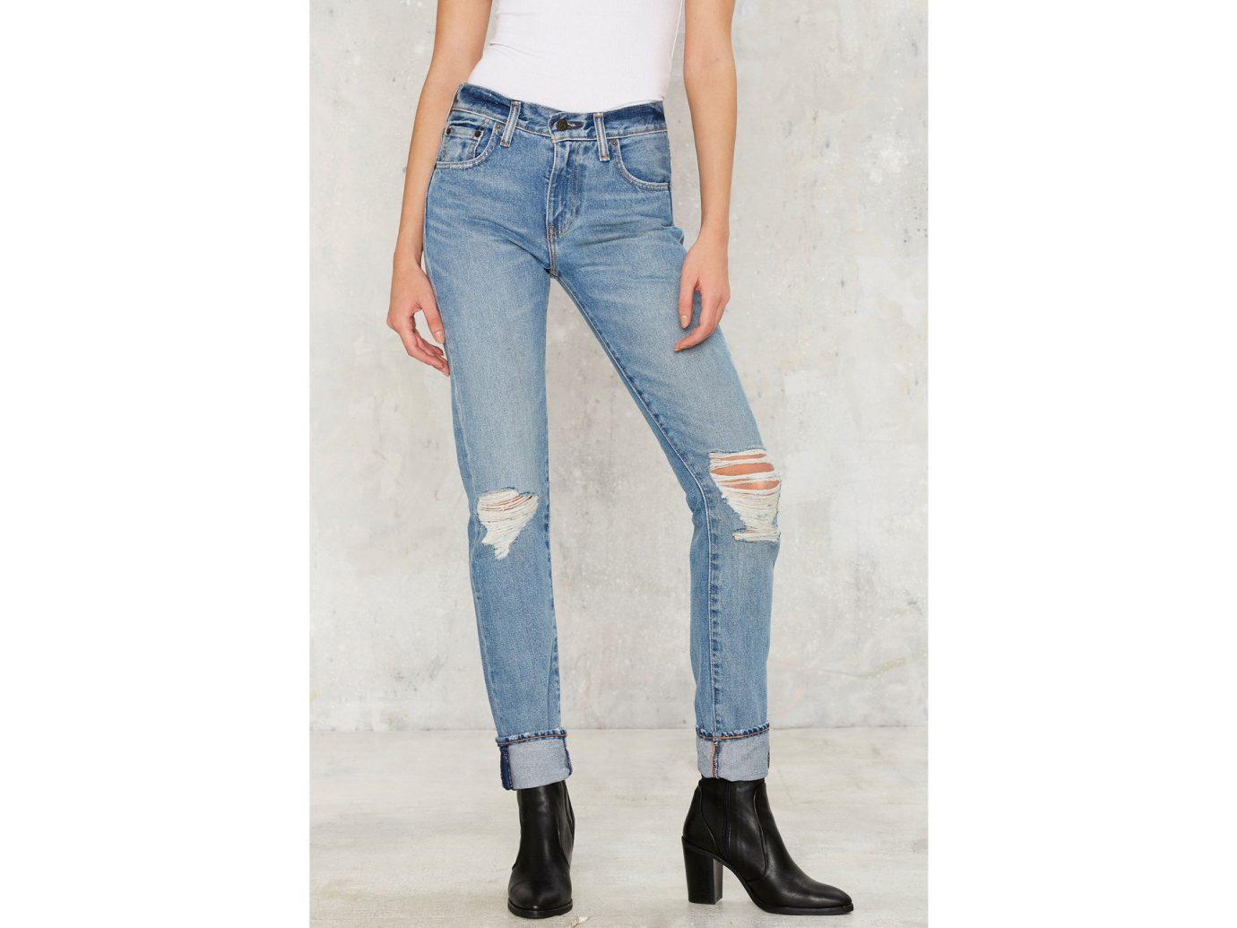 Style + Design jeans person clothing denim trousers pocket trouser abdomen textile sleeve pattern posing