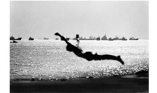 Arts + Culture water outdoor sky black and white monochrome photography Lake silhouette album cover physical fitness