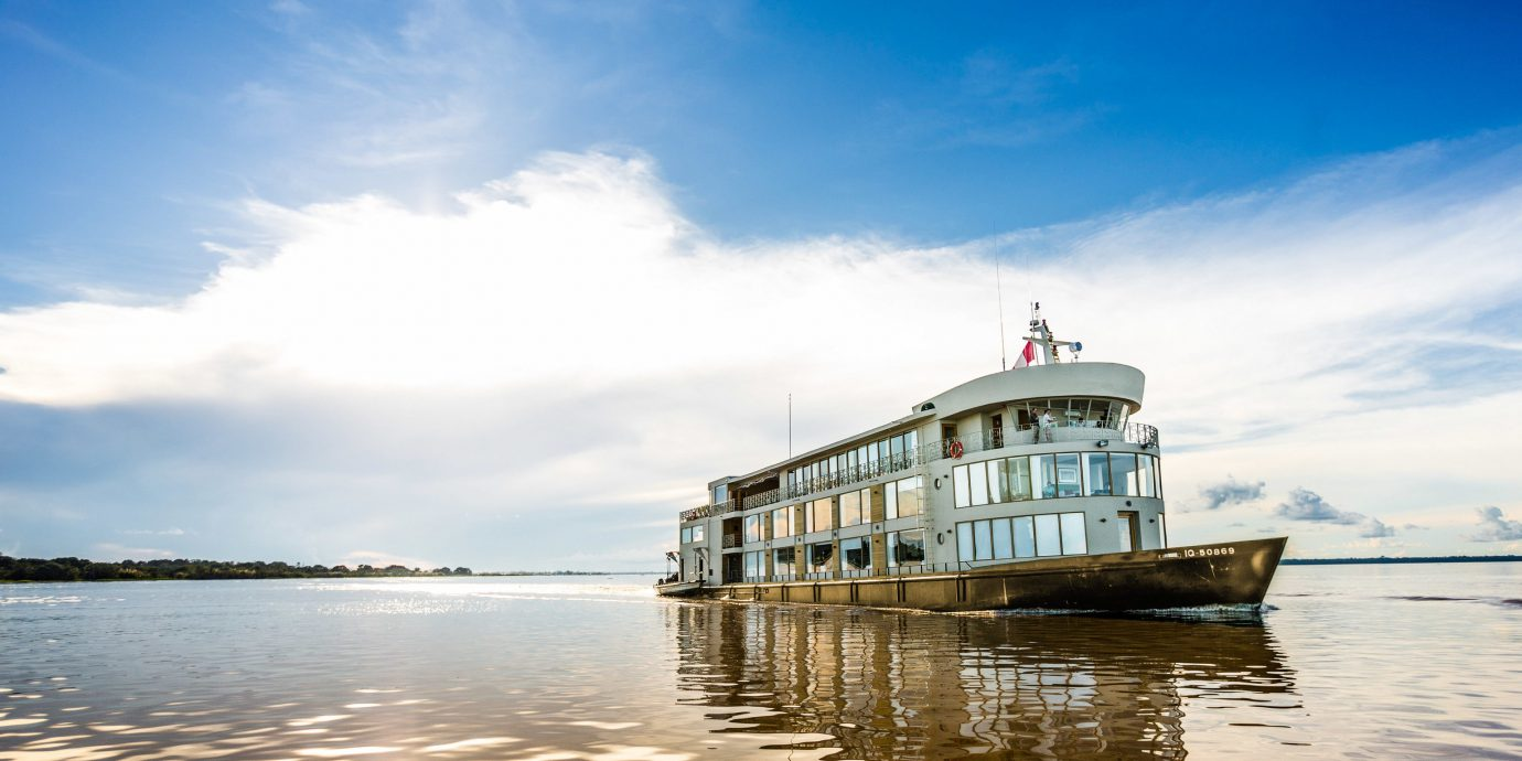 Cruise Travel Luxury Travel Outdoors + Adventure Trip Ideas water sky outdoor reflection Boat water transportation cloud Sea Lake horizon calm evening Ocean landscape motor ship loch River traveling shore day