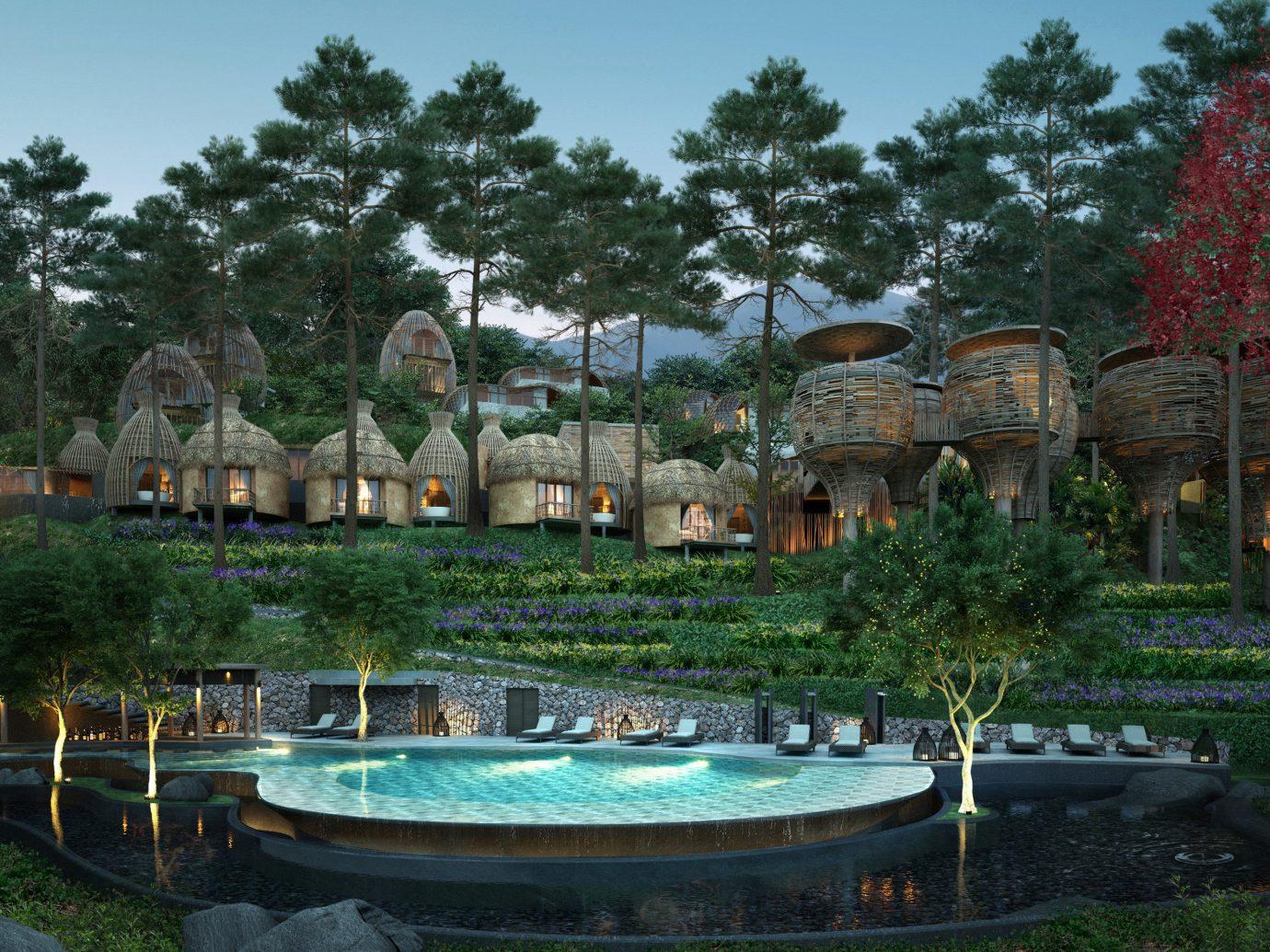 Hotels tree outdoor sky property estate swimming pool Resort backyard Garden Village mansion waterway several Boat