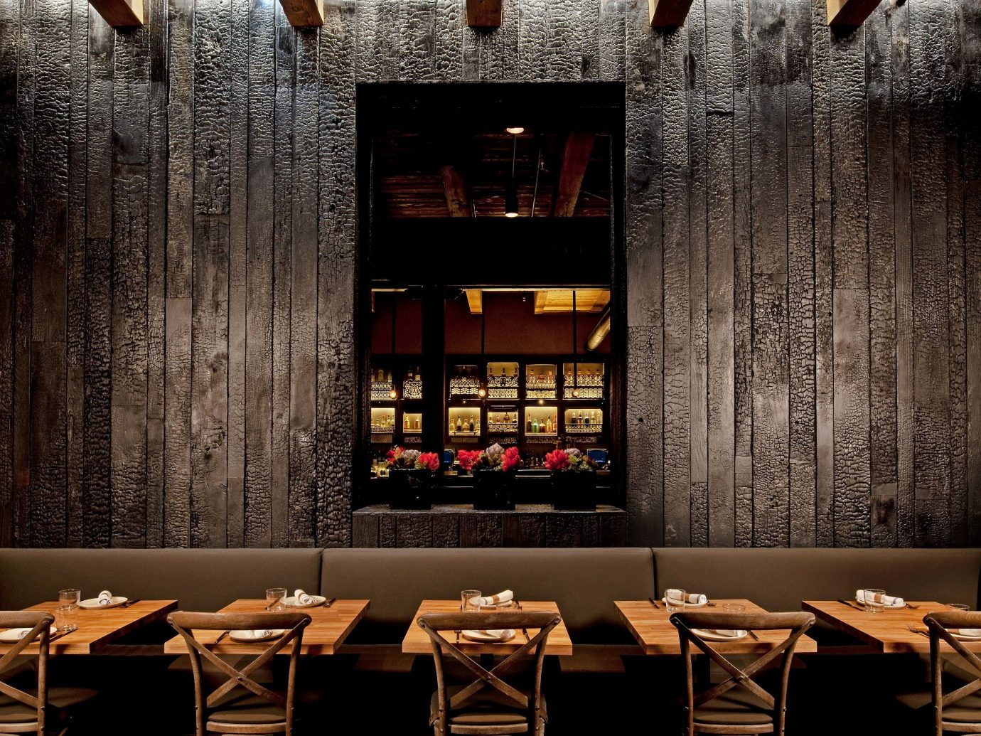 Food + Drink indoor interior design Bar wood restaurant set dining room