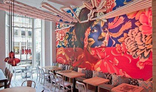 Food + Drink indoor mural interior design restaurant area decorated furniture