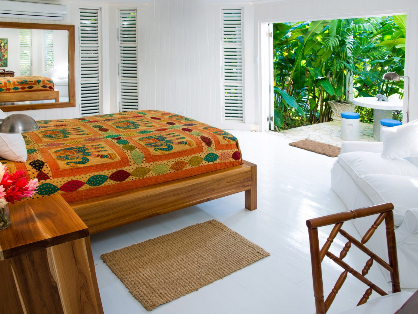 Balcony Bedroom Hotels Living Luxury Tropical indoor table window room furniture bed sheet bed home living room interior design cottage Suite estate Design decorated