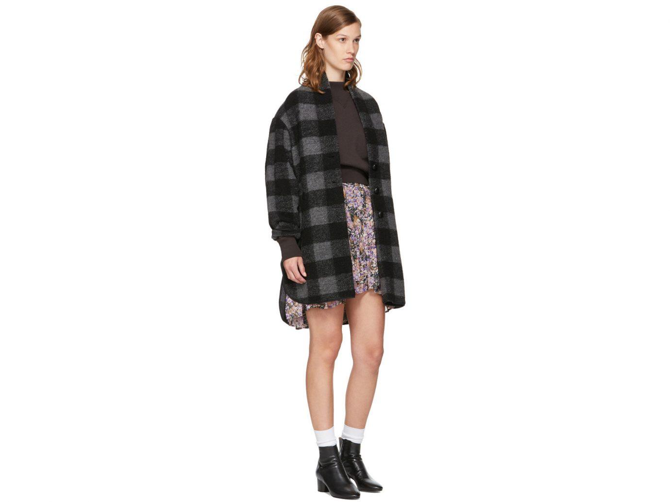 Travel Shop clothing tartan shoulder pattern fashion model plaid Design coat joint sleeve shoe