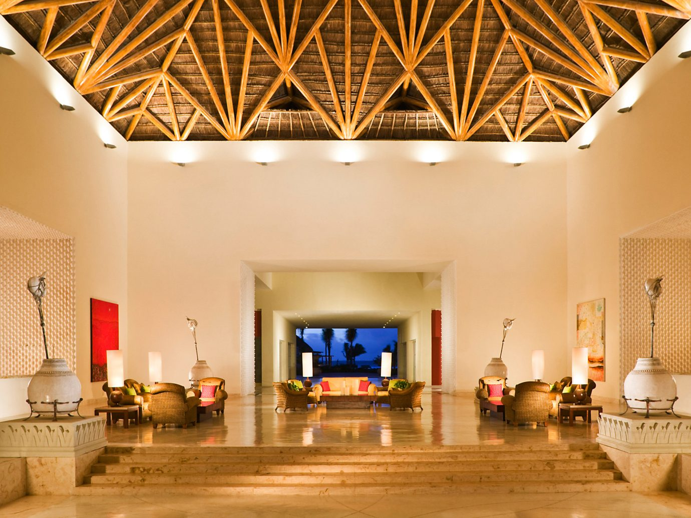 All-Inclusive Resorts Beachfront Elegant Family Travel Hotels Living Lounge Luxury Modern Scenic views Tropical wall indoor ceiling floor room Lobby property estate living room home interior design furniture lighting Design real estate mansion Villa area decorated wood