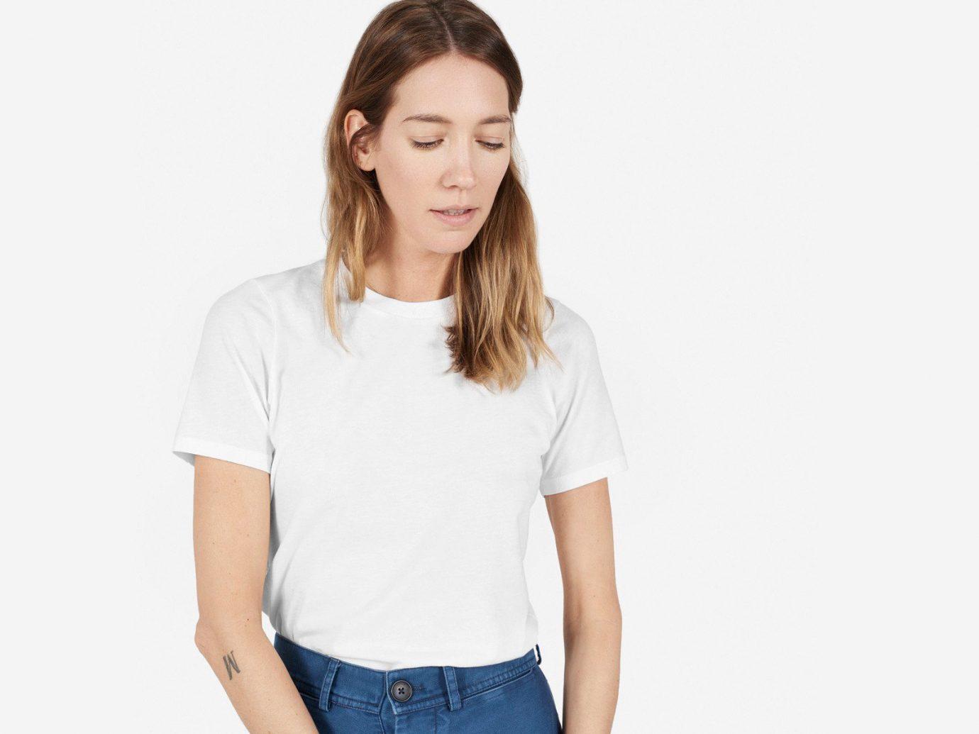 Style + Design person t shirt white clothing sleeve standing pocket arm neck photo shoot shirt blouse human body posing