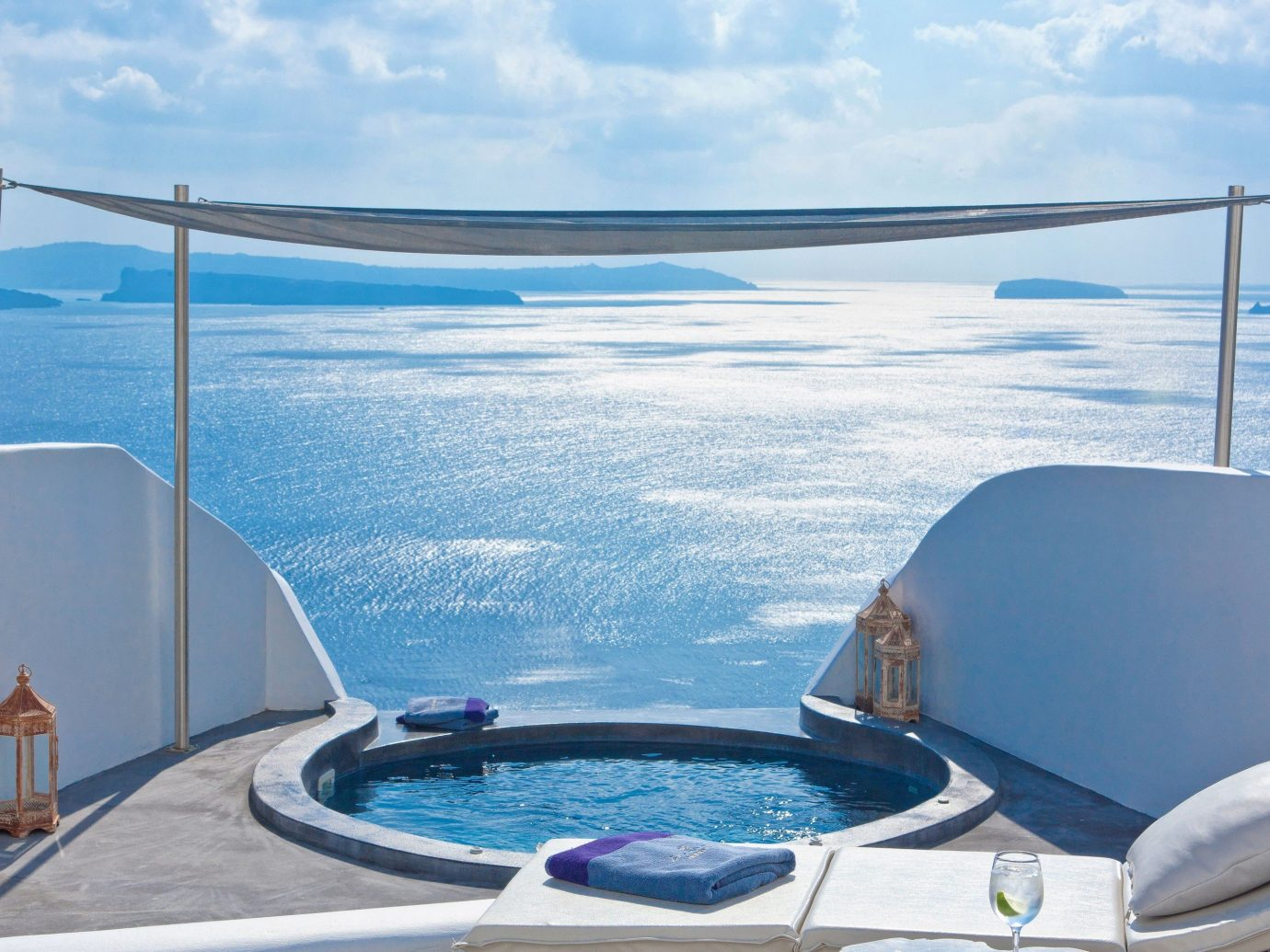 Hotels Offbeat sky water outdoor swimming pool vehicle Boat yacht vacation Ocean overlooking passenger ship Sea bed jacuzzi Deck day clouds