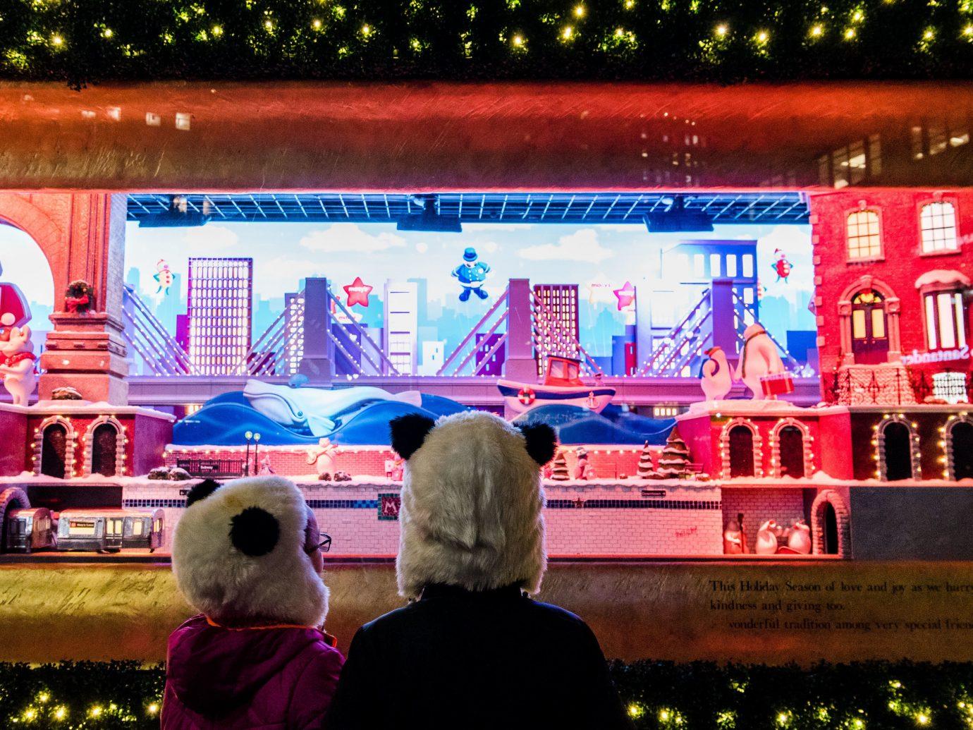 Offbeat Winter tree stage fun recreation festival City fête crowd night event