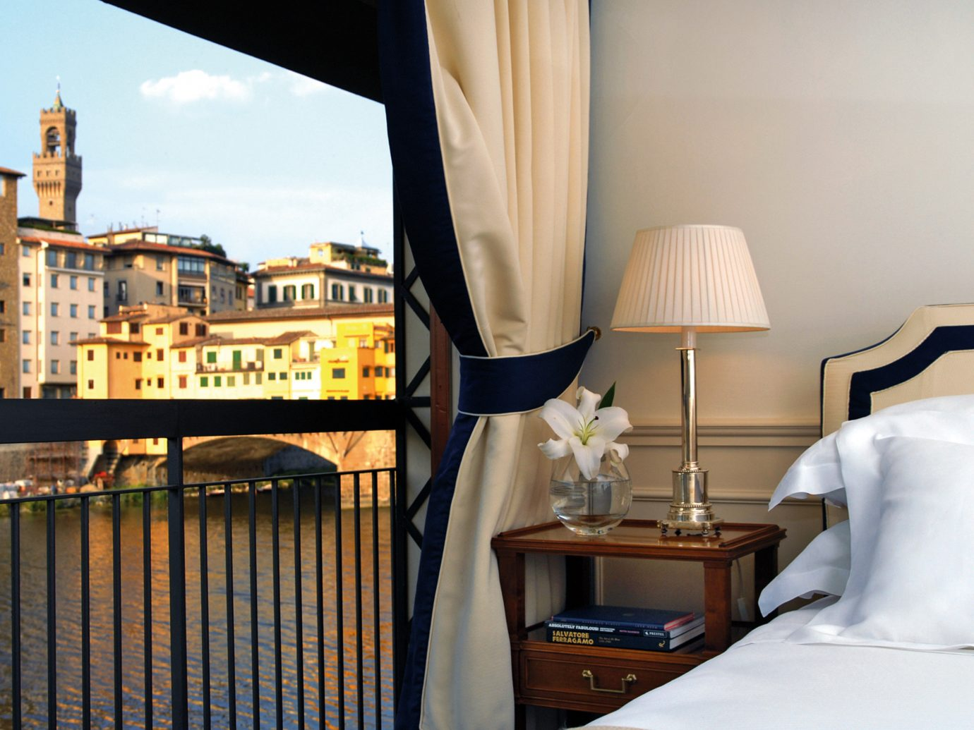 Balcony Bedroom City Florence Hotels Italy Modern River Scenic views Waterfront indoor room house home interior design estate hotel window covering apartment cottage furniture