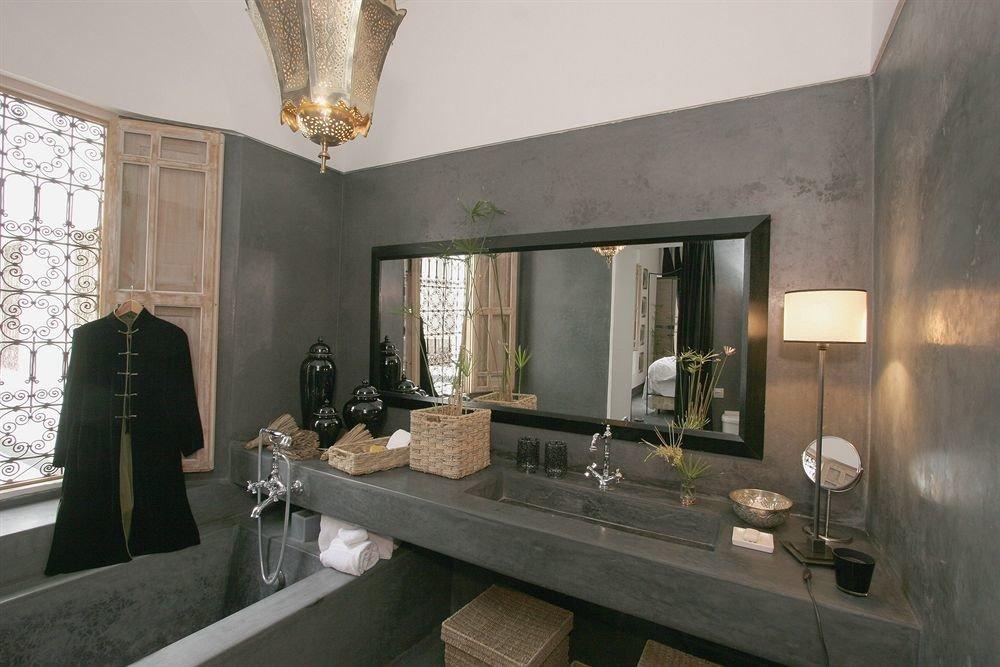bathroom mirror property sink living room home cottage mansion fancy Modern stone