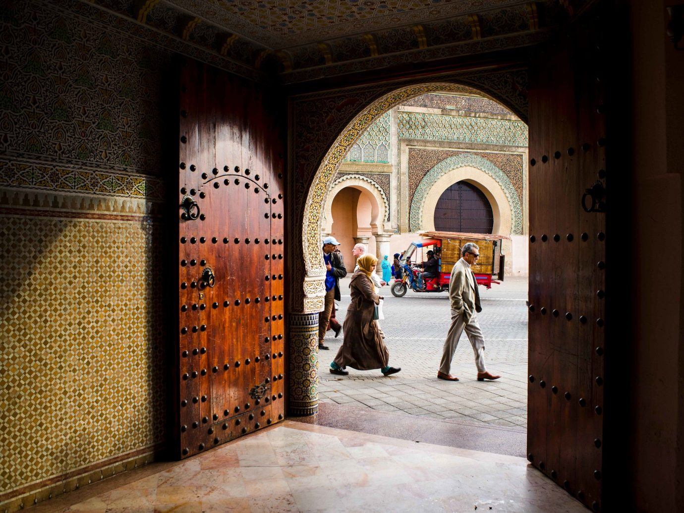 Arts + Culture Marrakech Morocco Style + Design outdoor arch temple tourist attraction window colonnade