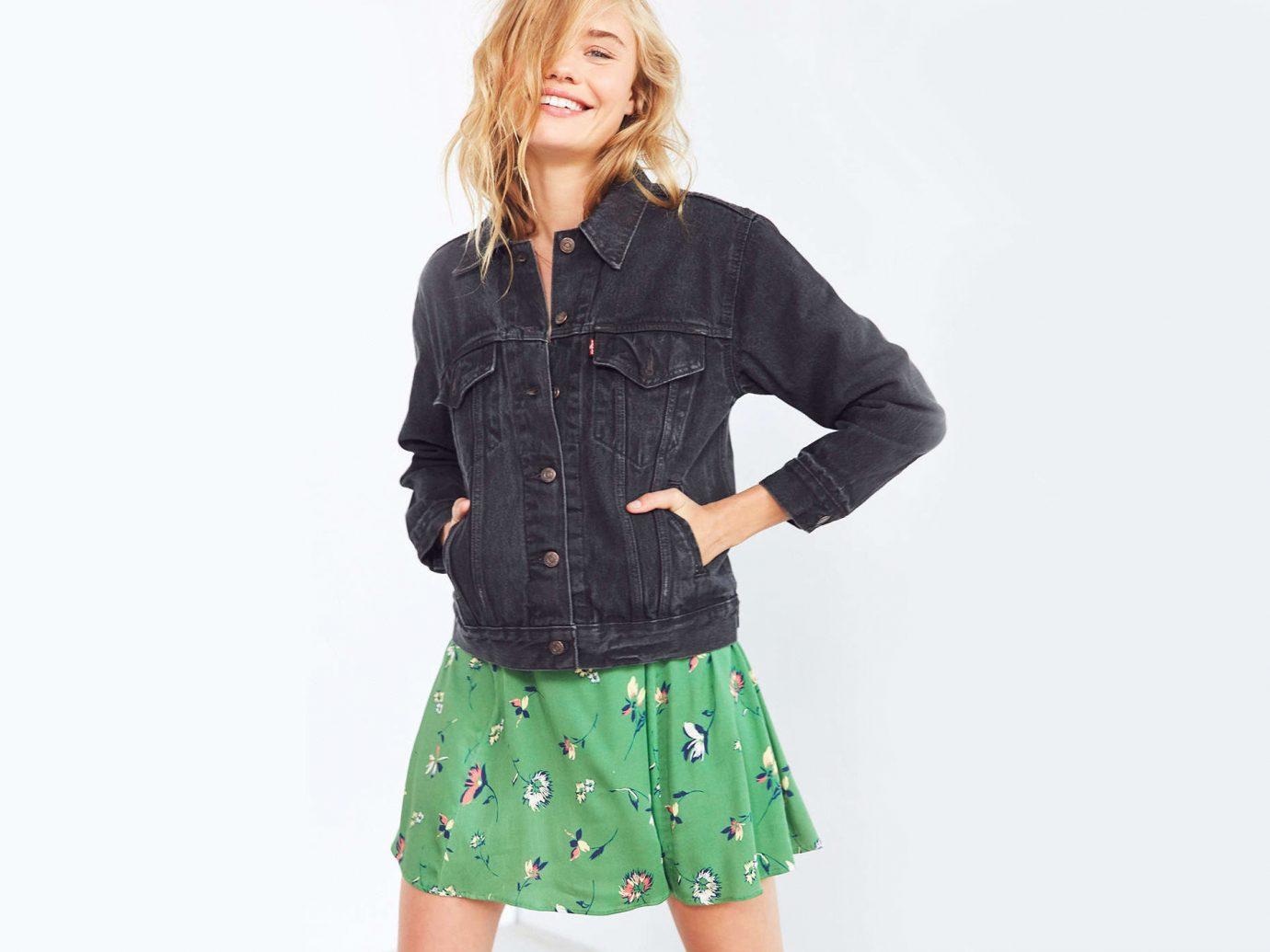 Style + Design clothing person sleeve fashion fashion model jacket waist denim pattern button jeans day dress