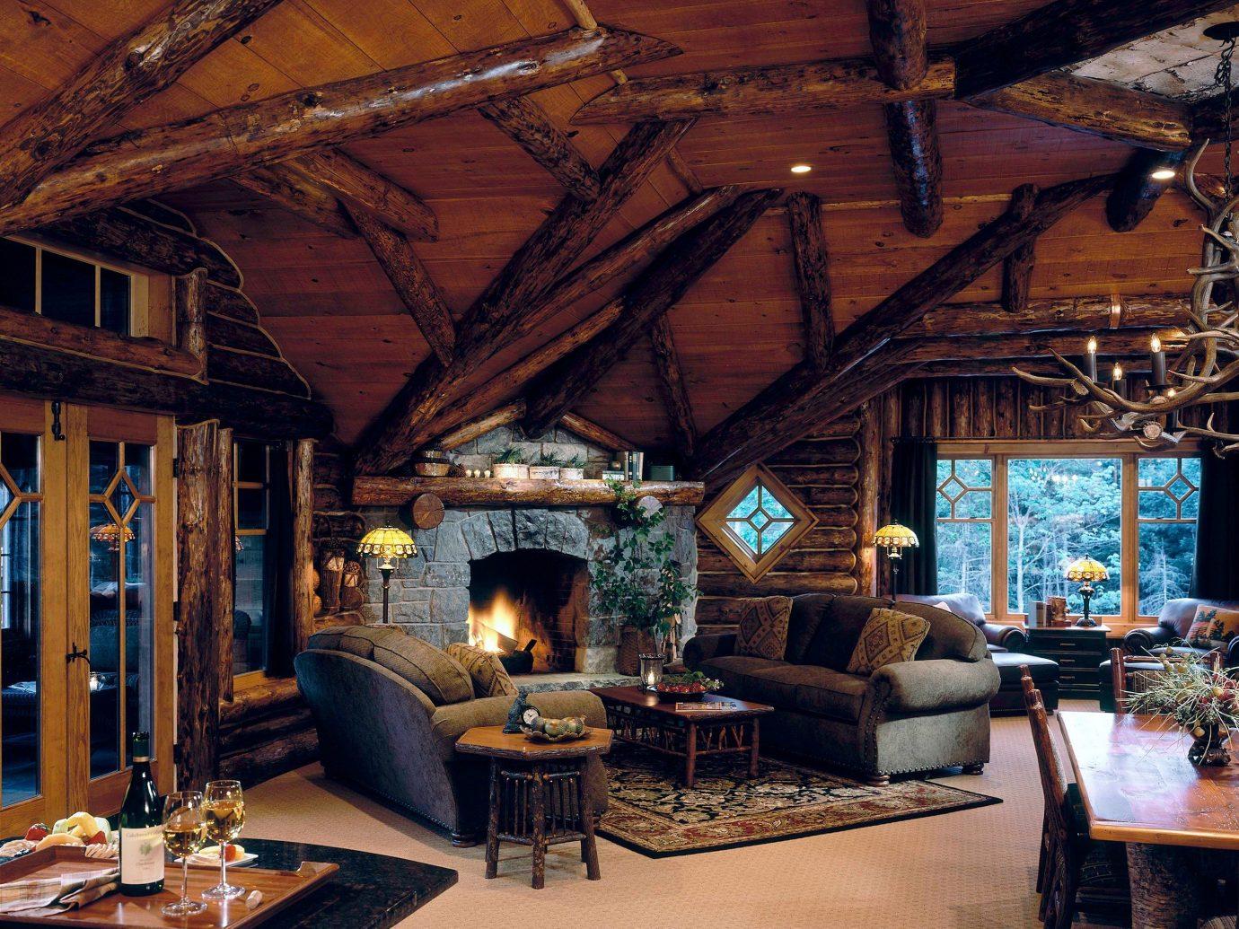 Hotels indoor ceiling room Living property building estate house living room log cabin home interior design cottage wood outdoor structure farmhouse furniture area