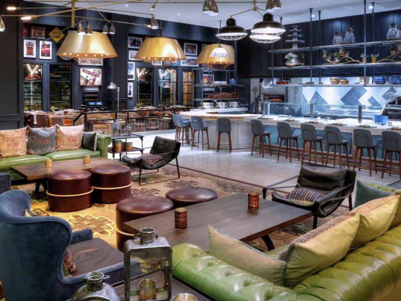 Food + Drink indoor Living room meal restaurant interior design Bar furniture leather several